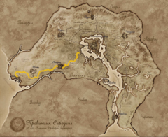 Карта Сиродила, отмечена Золотая Дорога