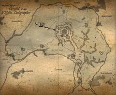 Карта Сиродила отмечена Чёрная дорога