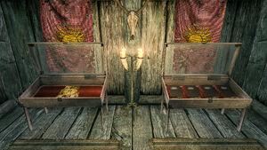 Дом Сила Весула - витрины с книгами и страницей