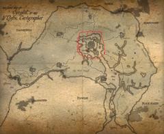 Карта Сиродила отмечена Красная кольцевая дорога