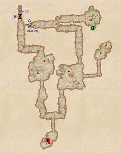 Заболоченная пещера. План