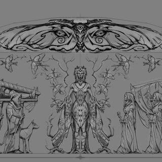 Pełna płaskorzeźba portretująca Dibellę z gry The Elder Scrolls V: Skyrim
