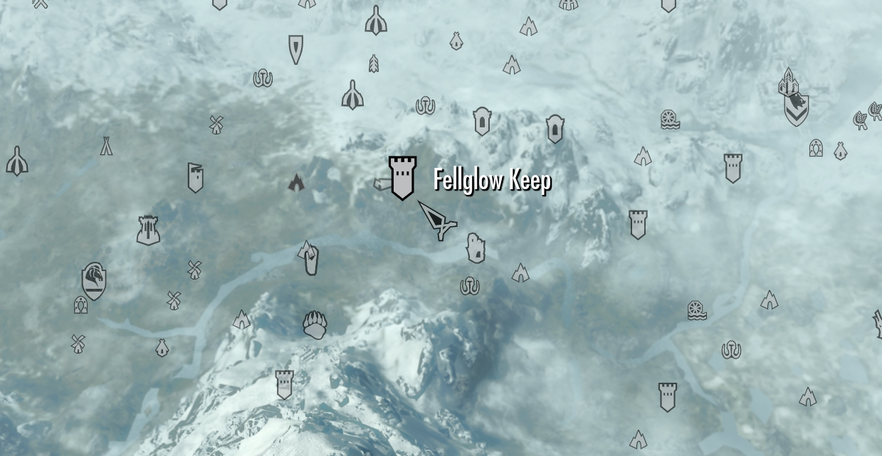 Skyrim Map Fellglow Keep