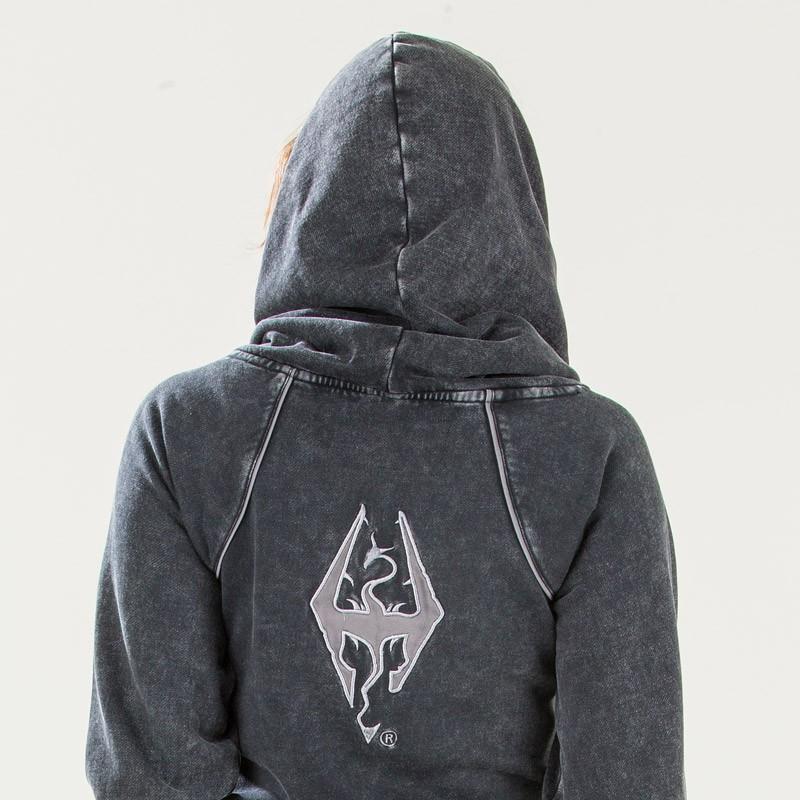 Ladies Long Imperial Dragon Symbol Cowl Hoodie Elder Scrolls