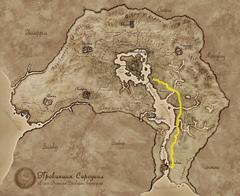Карта Сиродила, отмечена Жёлтая дорога