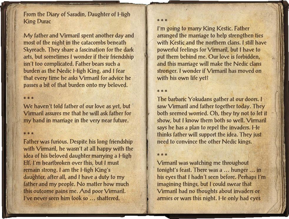 Saradin's Diary | Elder Scrolls | FANDOM powered by Wikia