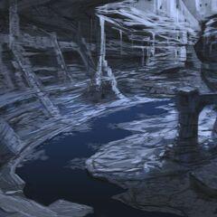 Grafika koncepcyjna Jaskiń zamieszkiwanych przez Falmerów