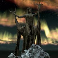 Святилище Азури статуя уночі (Skyrim)