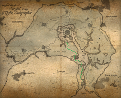 Map of cyrodiil aged Green Road