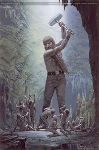 Ted Nasmith - Aulë se propone destruir a los enanos