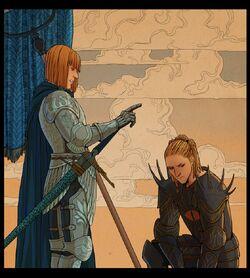 Eönwe ordenando regresar a juicio a Sauron
