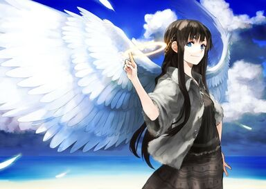 Angels clouds wings beach dress blue eyes long hair feathers braids skyscapes anime girls halos blac www.wall321.com 56