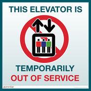 Sign elevator out service large prod