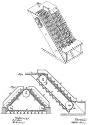 Illustration of revolving stairs (U.S. Patent 25,076 issued to Nathan Ames, 9 August 1859)