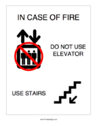 In Case Of Fire Do Not Use Elevator