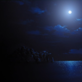 The island facility at night (anime).