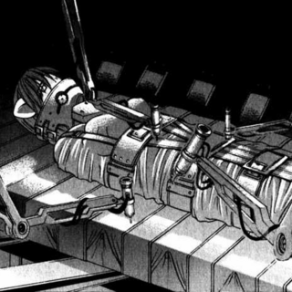 Lucy in a containment unit (manga).