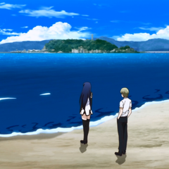 Neko and Ryouta look out at the ocean with <a href=