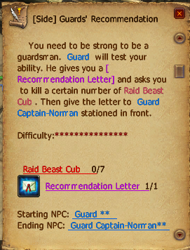 Guards' recommendation