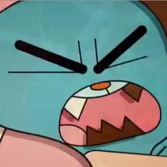 Algunos dientes de Gumball tienen de color diferente, ademas son iguales que el color de fondo en esta escena de