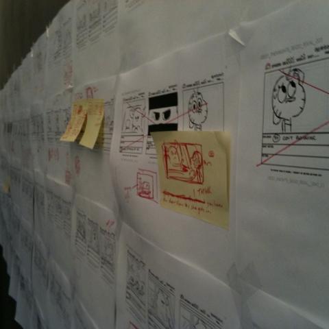 Storyboard en la pared, foto proporcionada por <a href=