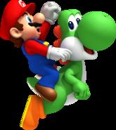 NSMBW Mario and Yoshi Jumping Artwork