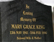 Emmie close up of mary king grave