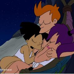 Amy, Leela and Fry sleeping together
