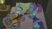 Futurama Forty Percent Leadbelly Bender in Bed with Jezebel