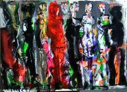 El testigo en rojo - Mixta sobre papel - 50x70cm - 2017