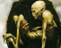 Voldemort's rudimentary body concept artwork for HP4 movie