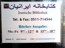 Iranische Bibliothek Hannover Tulpenstraße 15 Telefon Fax Bücher-Ausgabe Öffnungszeiten eMail Infoschild