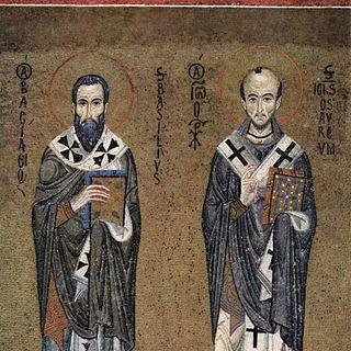 Mosaiken der Capella Palatina in Palermo, Szene: Hl. Basilius und Hl. Johannes Chrysostomus,  um 1150
