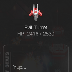Stats and description of an Evil Turret in the mobile version of the game.