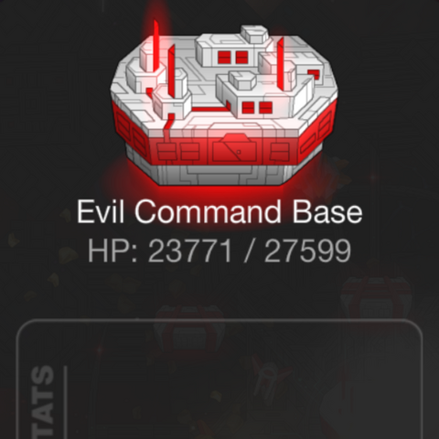 Stats and description of an Evil Command Base in the mobile version of the game.