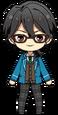 Rei Sakuma Student Uniform Glasses Ponytail chibi