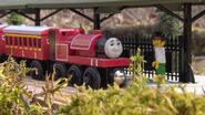 Skarloey with the red coaches