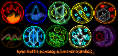 Epic Battle Fantasy Elements Symbols from Kupo707