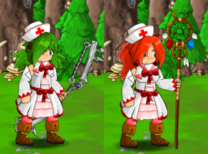 White Mage Dress and Nurse Hat