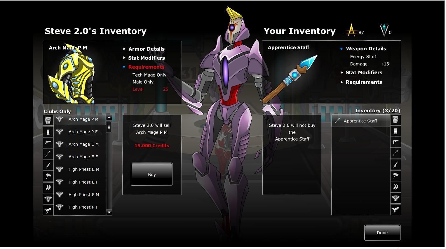 Steve Inventory