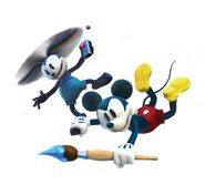 Mickey and Oswald flying. Epic Mickey 2 art
