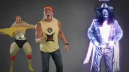 Real Hulk Hogan, Nice Peter As Hulk Hogan, And Ghost Of Macho Man Randy Savage