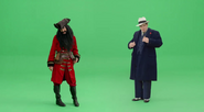 Blackbeard and Al Capone in front of Green Screen