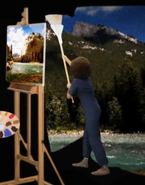 Bob Ross Painting the Background