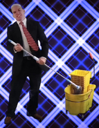 John McCain With His Mop And Mop Bucket Cart
