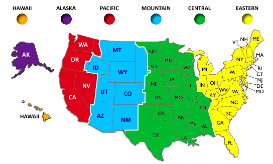 Us map with time zones