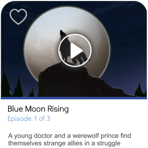 The story card for Blue Moon Rising, as shown on an iPhone