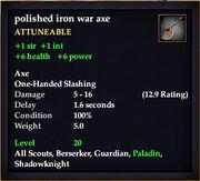 Polished iron war axe