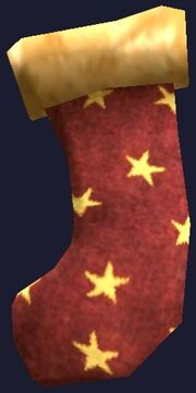 Pristine Red and Gold Frostfell Stocking (Visible)