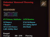 Defenders' Renewed Throwing Dagger